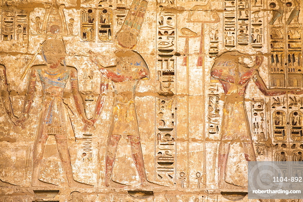 Reliefs on the walls of the Second Court, Temple of Ramesses III at Medinet Habu, West Bank, UNESCO World Heritage Site, Luxor, Egypt, North Africa, Africa
