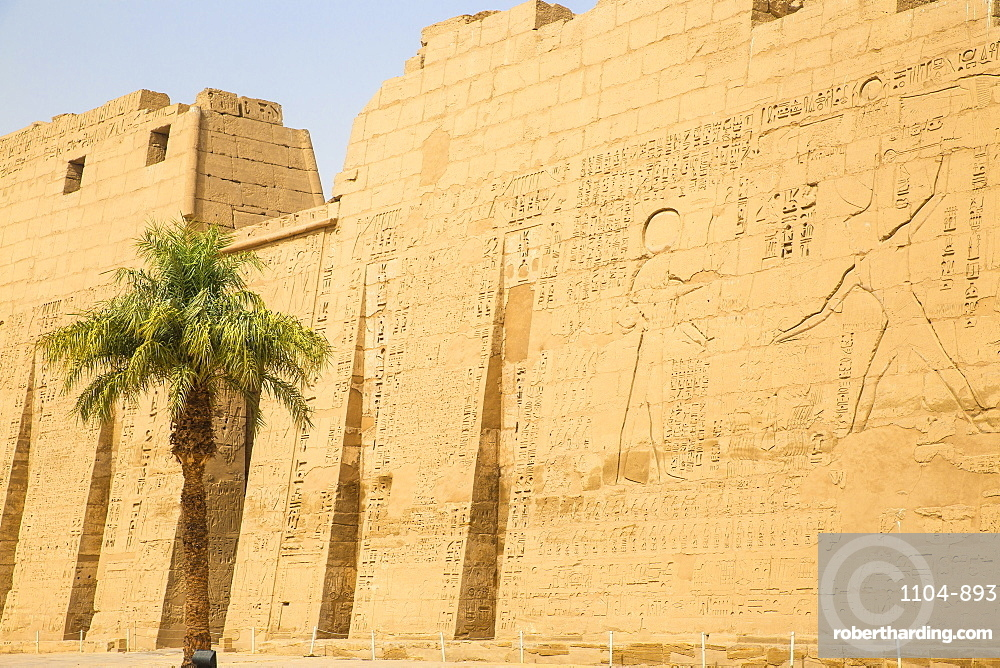 Pylon I, Temple of Ramesses III at Medinet Habu, West Bank, UNESCO World Heritage Site, Luxor, Egypt, North Africa, Africa