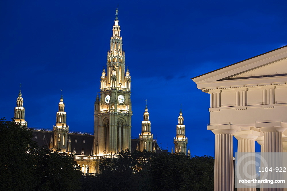 Austria, Vienna, Volksgarten (Peoples Garden), Theseus Temple and Town Hall