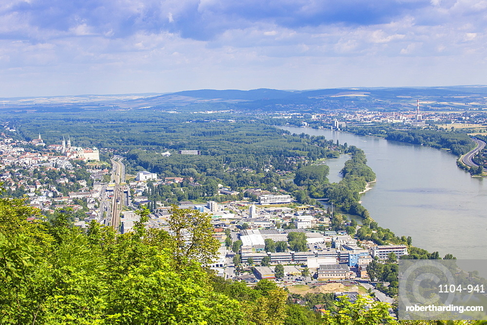 View of the River Danube and Vienna, Austria, Europe