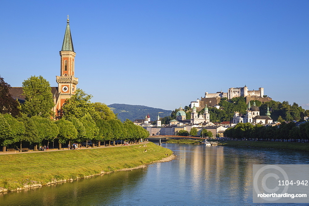 View of the Protestant Church of Christ, Salzach River and Hohensalzburg Castle, Salzburg, Austria, Europe
