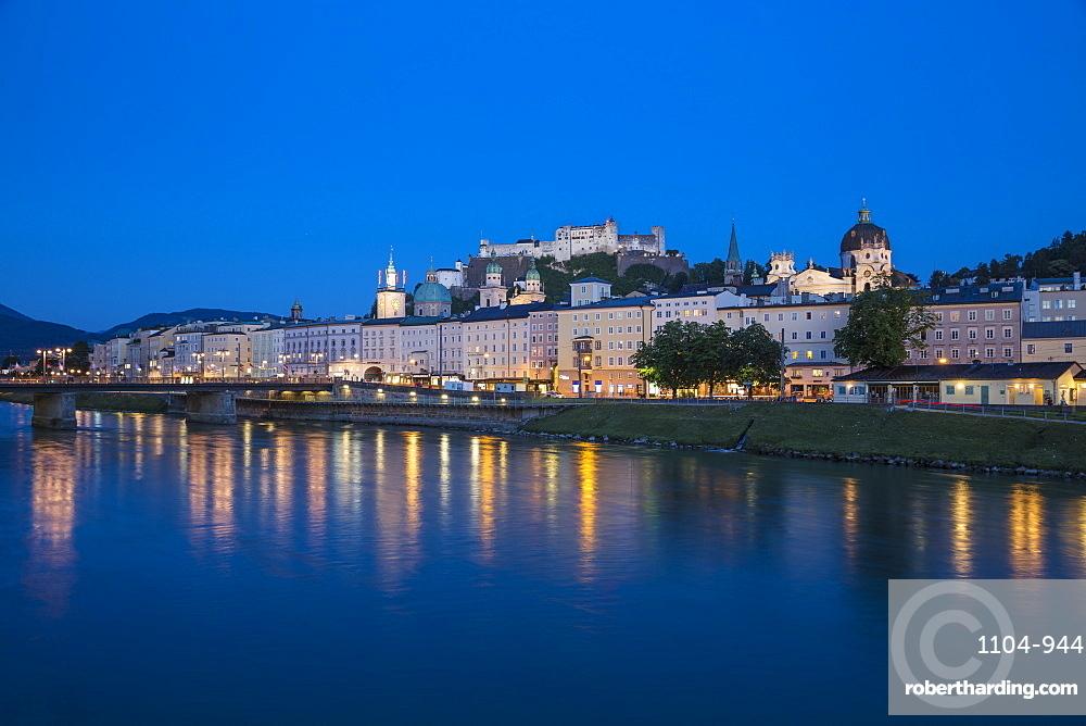 Austria, Salzburg, View of Salzach River, Hohensalzburg Castle and the Altstadt - The Old City