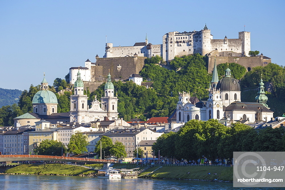 View of Salzach River and Hohensalzburg Castle above The Old City, UNESCO World Heritage Site, Salzburg, Austria, Europe