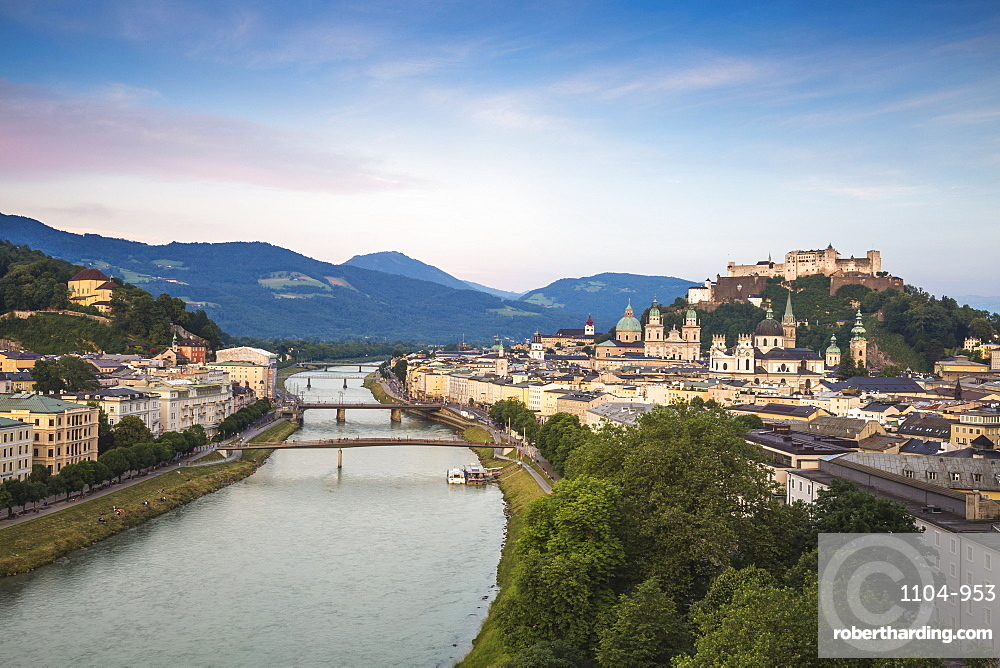 Austria, Salzburg, View of Salzach River and Hohensalzburg Castle above The Old City