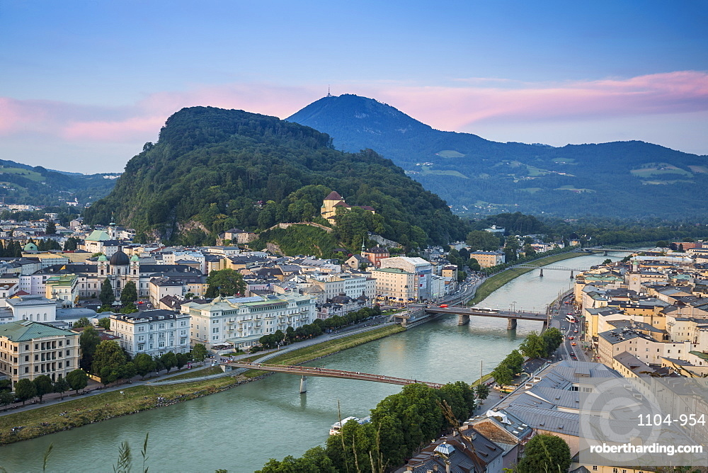 Austria, Salzburg, View of Salzach River, -The Old City to the right and the New City to the left