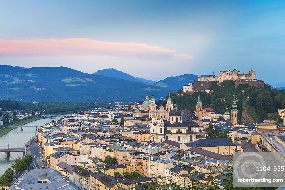 View of Salzach River and Hohensalzburg Castle above The Old City, Salzburg, Austria, Europe