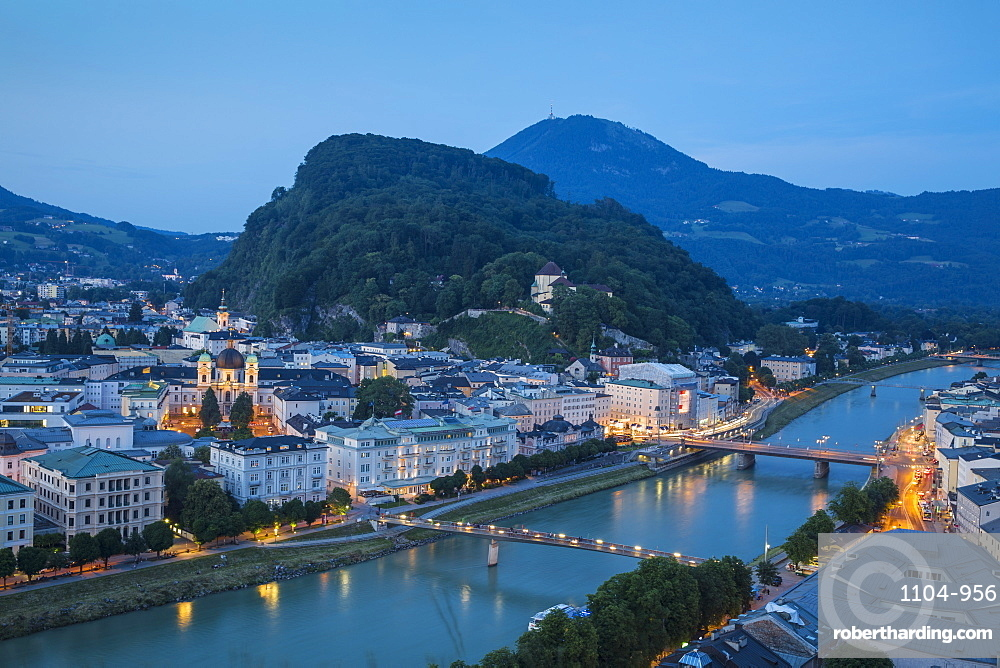 Austria, Salzburg, View of Salzach River - The Old City to the right and the New City to the left