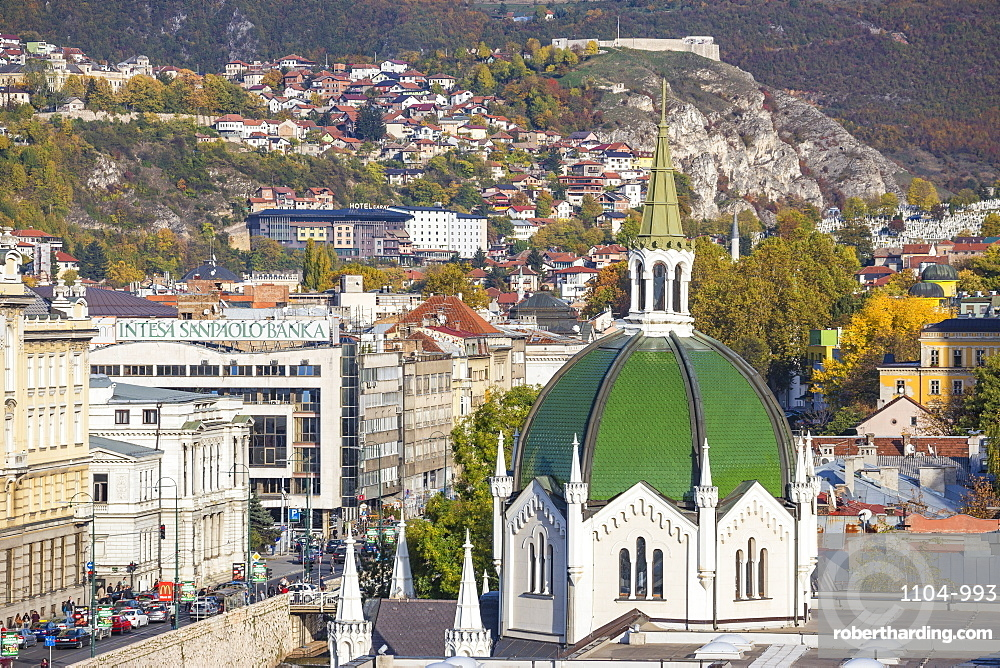 View of Bascarsija (The Old Quarter), on the banks of the Miljacka River, Sarajevo, Bosnia and Herzegovina, Europe