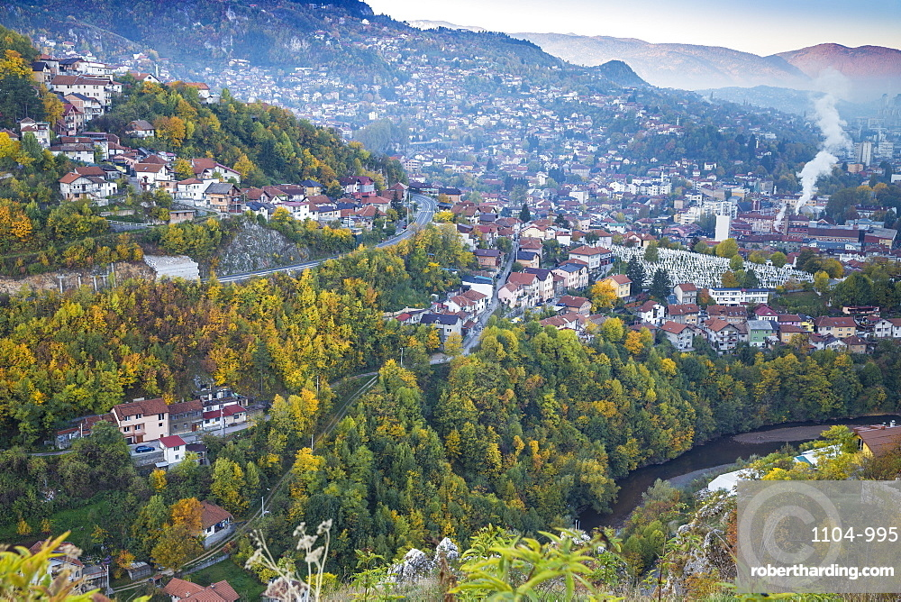 View of Alifakovac graveyard, where Muslim foreigners are buried, and City, Sarajevo, Bosnia and Herzegovina, Europe