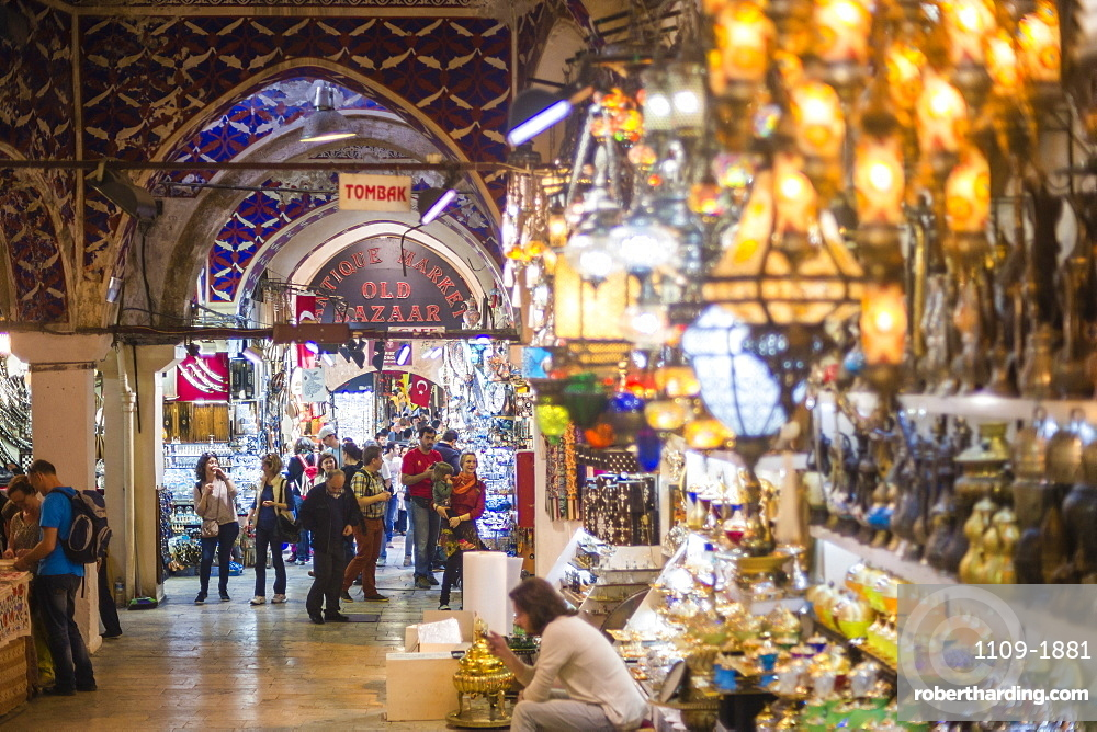 Grand Bazaar (Kapali Carsi), a covered market in Istanbul, Turkey, Europe