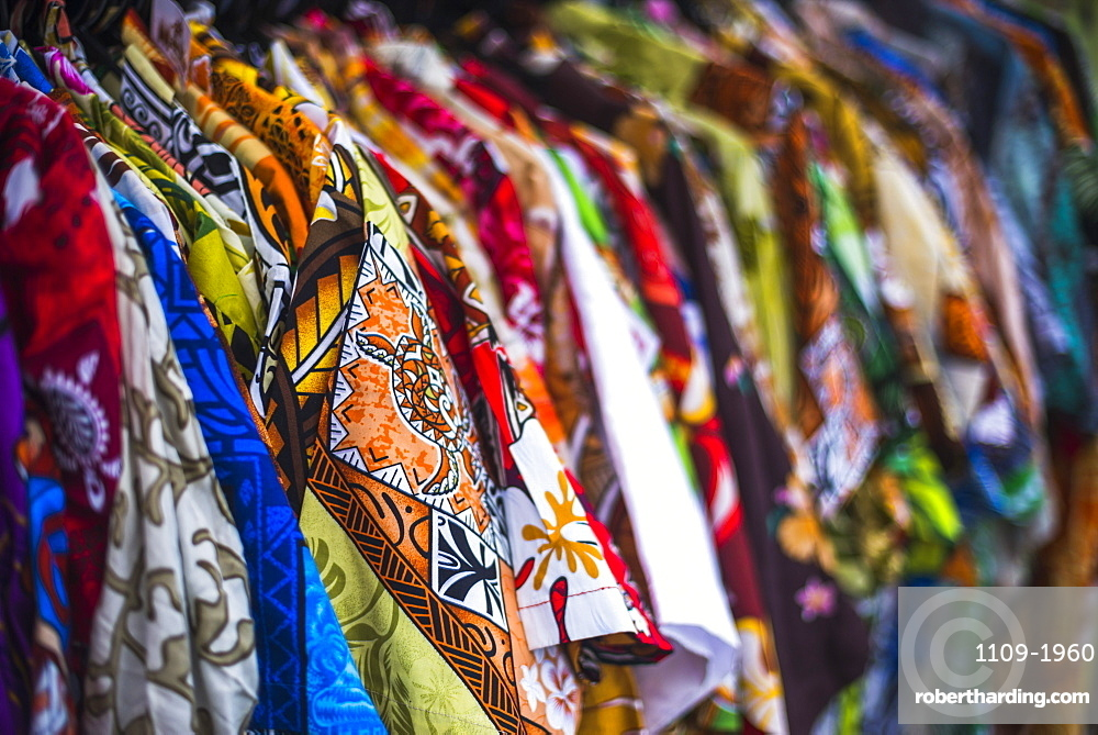 Hawaiian shirts for sale at Rarotonga Saturday Market (Punanga Nui Market), Avarua Town, Cook Islands, South Pacific, Pacific