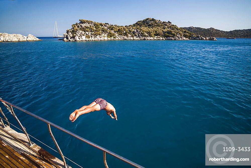 Diving off a Gulet sailing boat cruise in Gokkaya Bay, Antalya Province, Lycia, Anatolia, Mediterranean, Turkey, Asia Minor, Eurasia