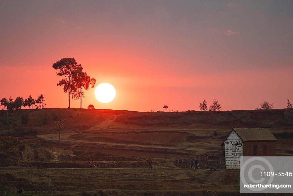 Sunset near Antsirabe, Vakinankaratra Region, Madagascar, Africa