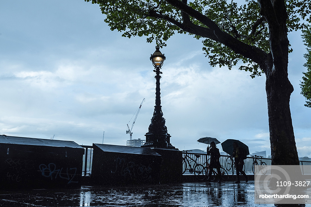 South Bank in the rain, London, England, United Kingdom, Europe
