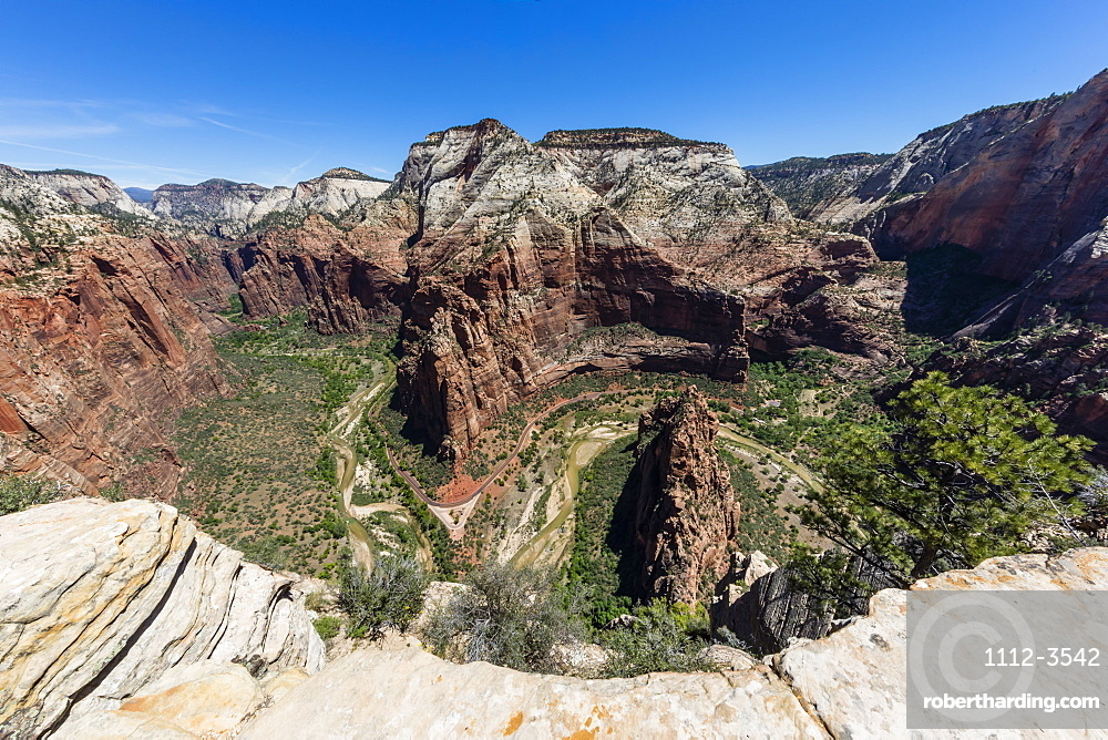 View of the valley floor from Angel's Landing Trail in Zion National Park, Utah, USA.