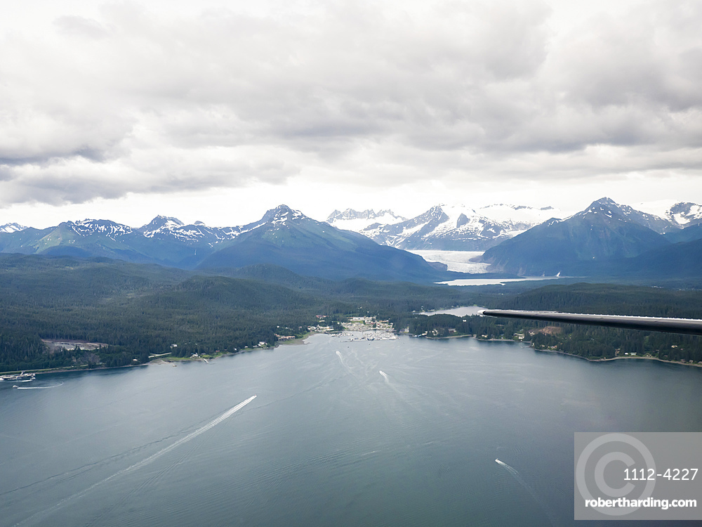 Auke Bay as seen from a small private plane flying from Juneau to Gustavus, Southeast Alaska, United States of America, North America
