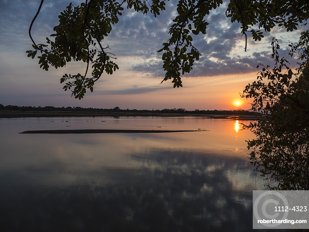 Sunset on the Luangwa River in South Luangwa National Park, Zambia.