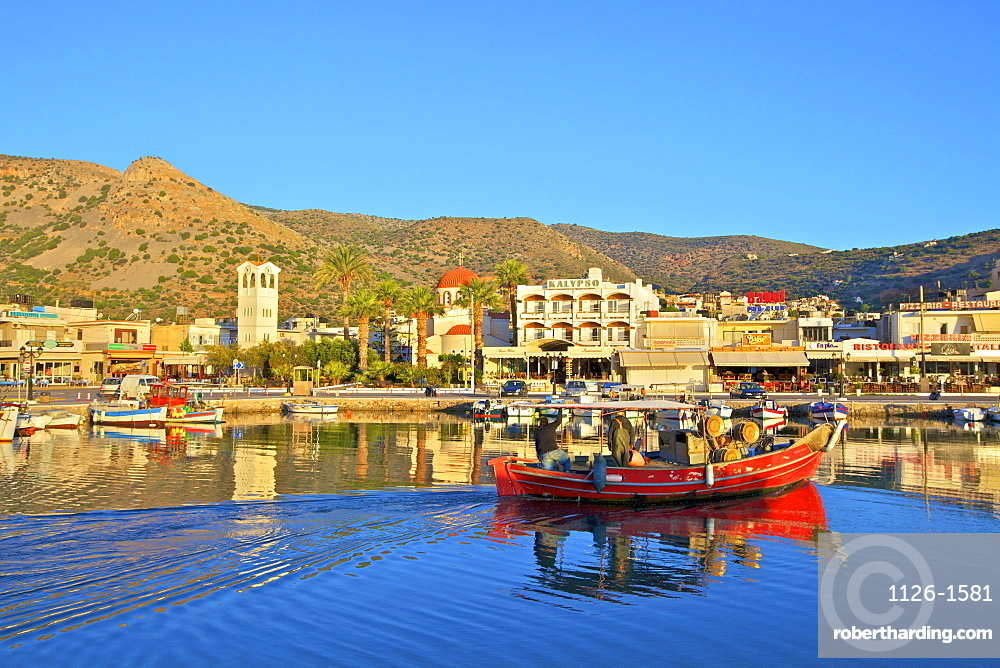 Elounda Harbour, Elounda, Crete, Greek Islands, Greece, Europe