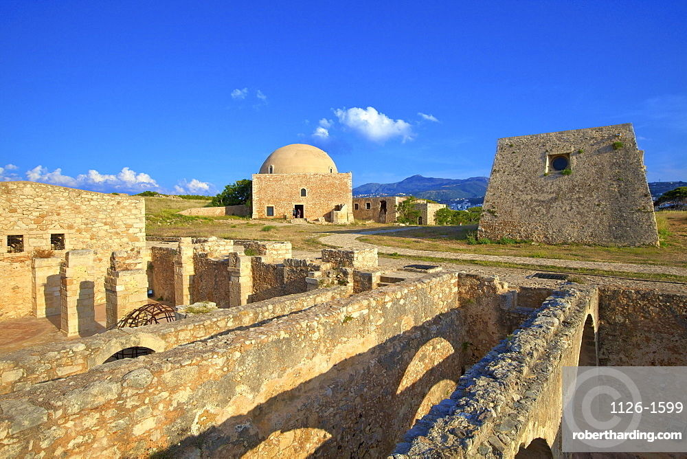 Storerooms and Ottoman Mosque of Sultan Ibrahim Han, Venetian Fortress, Rethymno, Crete, Greek Islands, Greece, Europe
