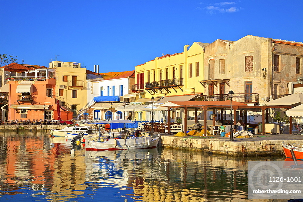 The Harbour at Rethymno, Rethymno, Crete, Greek Islands, Greece, Europe
