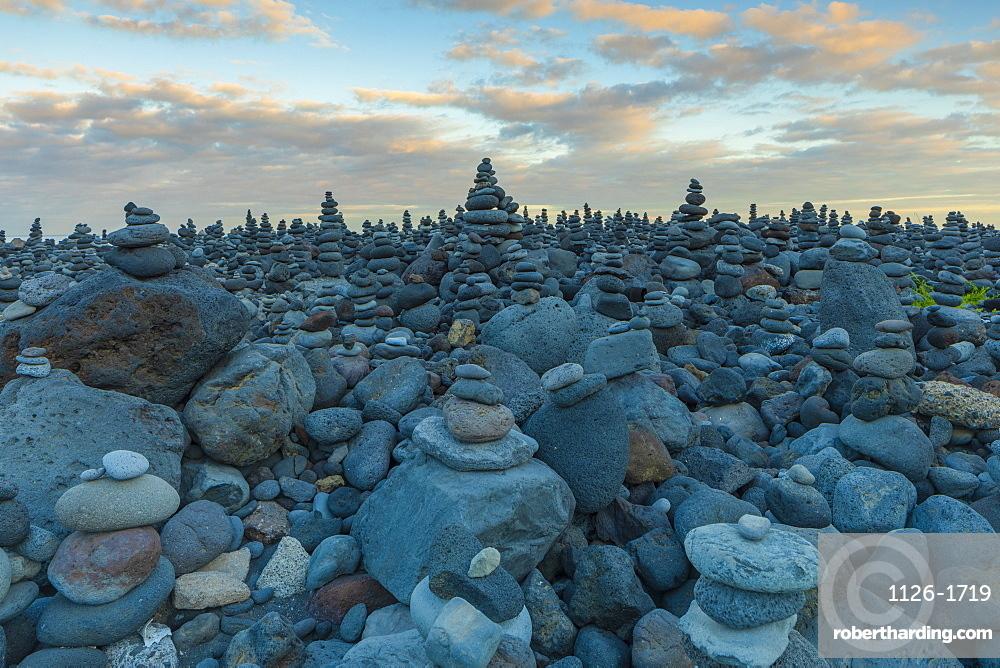 Stone Displays at Playa Jardin, Puerto de la Cruz, Tenerife, Canary Islands, Spain, Atlantic Ocean, Europe,