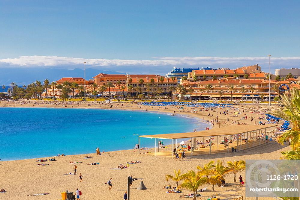 Playa las Vistas Beach, Los Cristianos, Tenerife, Canary Islands, Spain, Atlantic Ocean, Europe