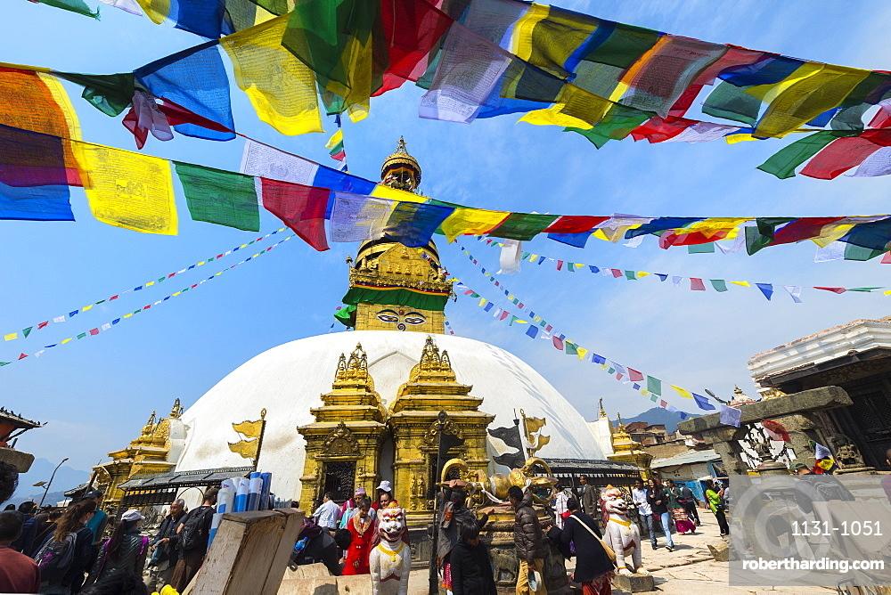 Swayambunath or Monkey Temple, Central Stupa and Buddha eyes, UNESCO World Heritage Site, Kathmandu, Nepal, Asia