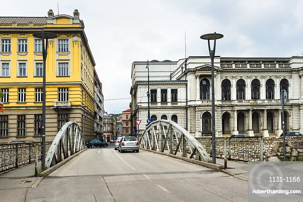 Bridge by National Theatre in old town of Sarajevo, Bosnia and Hercegovina, Europe