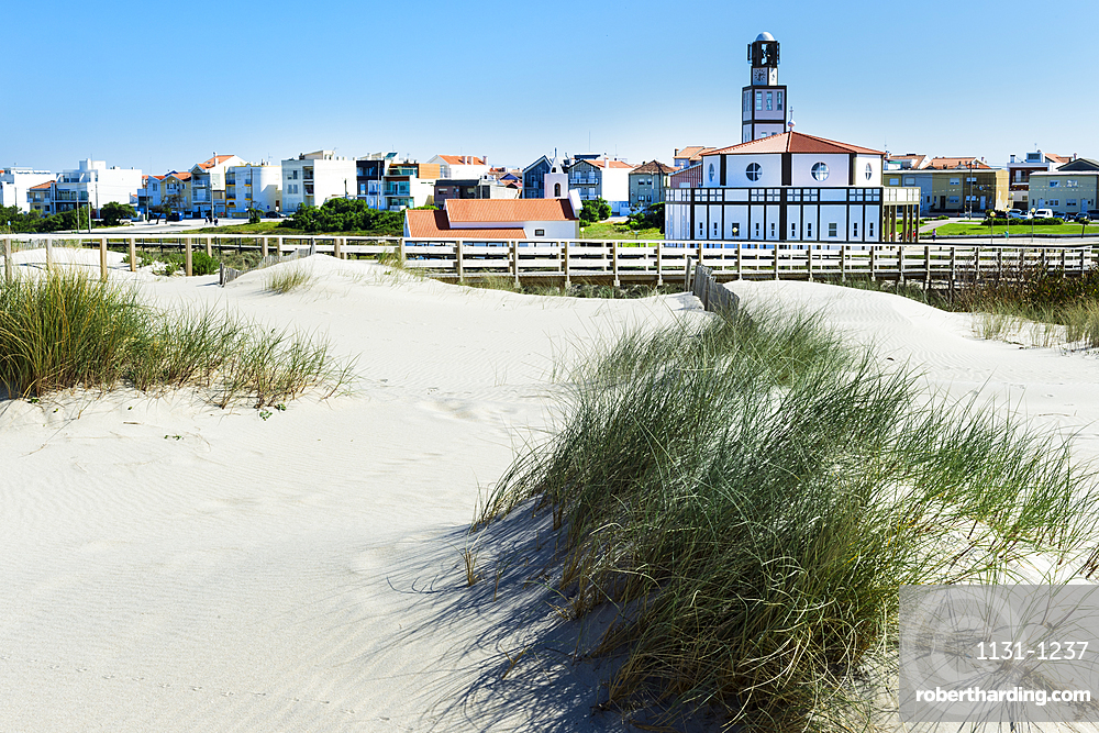 Costa Nova Church viewed from the dunes, Aveiro, Venice of Portugal, Beira Littoral, Portugal, Europe