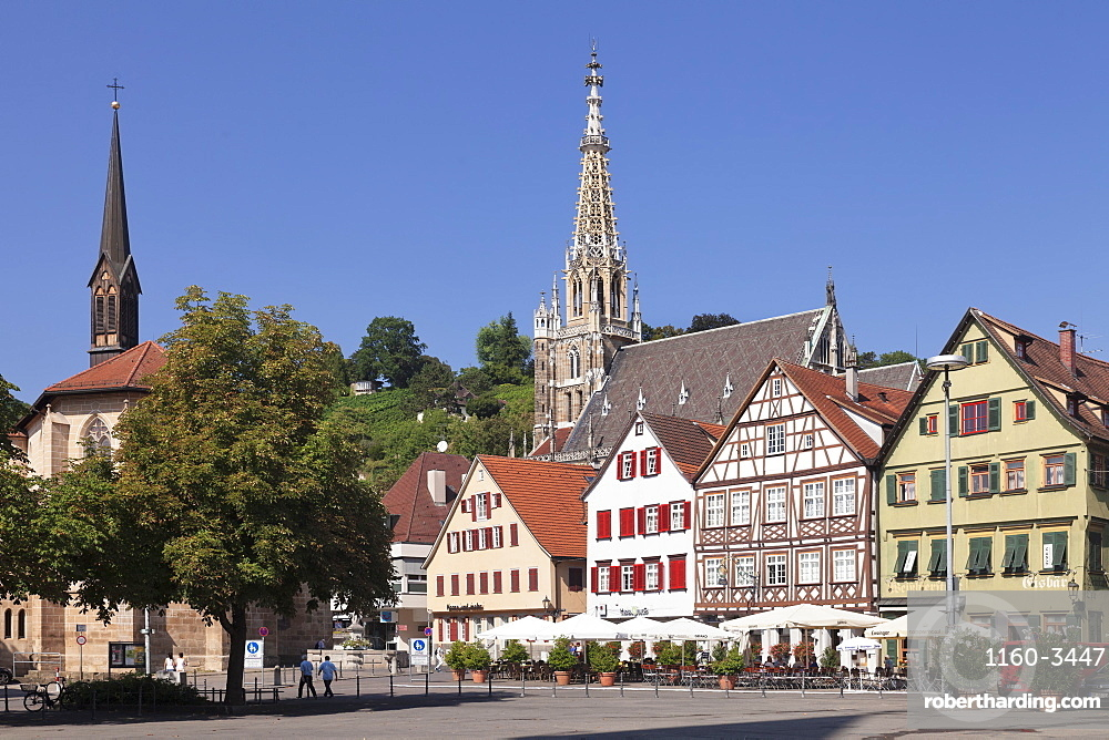 Market place with St. Paul Minster and Frauenkirche church, Esslingen, Baden-Wurttemberg, Germany, Europe