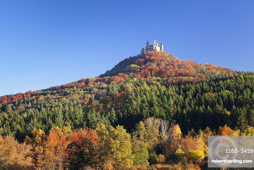 Hohenzollern Castle in autumn, Swabian Alps, Baden-Wurttemberg, Germany, Europe