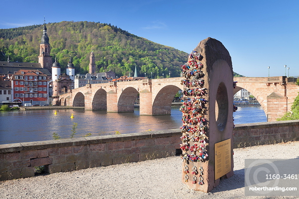 Heidelberger Liebesstein Rock, Karl-Theodor-Bridge (Old Bridge), Gate and Heilig Geist Church, Heidelberg, Baden-Wurttemberg, Germany, Europe