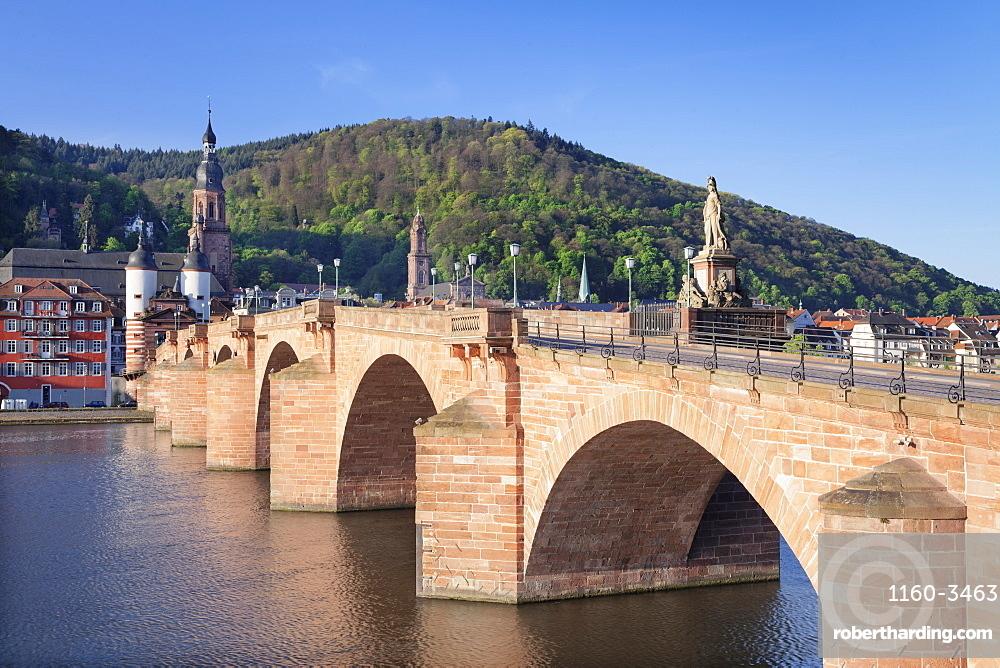 Old town with Karl-Theodor-Bridge (Old Bridge), Gate and Heilig Geist Church, Heidelberg, Baden-Wurttemberg, Germany, Europe