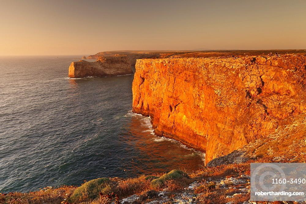 Cliff coast at sunset, Cabo de Sao Vicente, Sagres, Algarve, Portugal