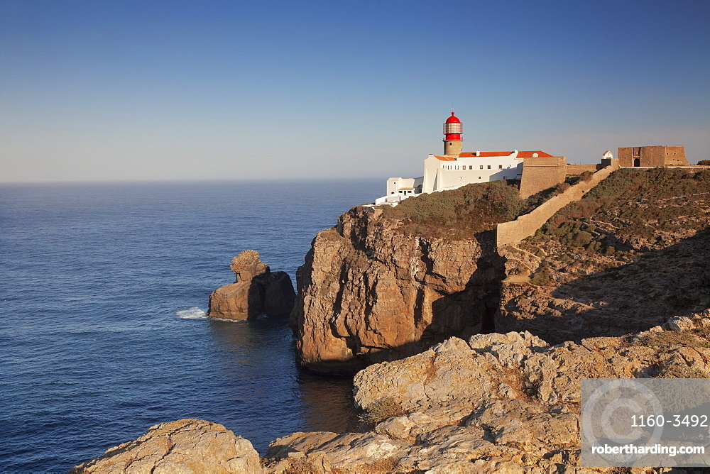 Lighthouse at sunrise, Cabo de Sao Vicente, Sagres, Algarve, Portugal, Europe