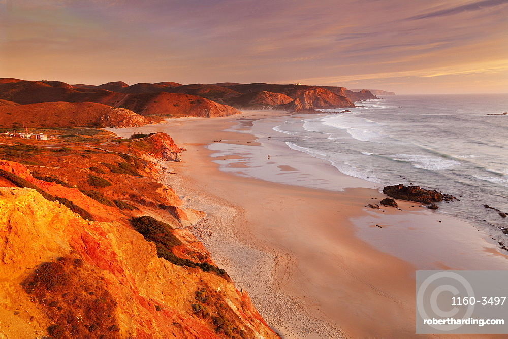 Praia do Amado beach at sunset, Carrapateira, Costa Vicentina, west coast, Algarve, Portugal, Europe