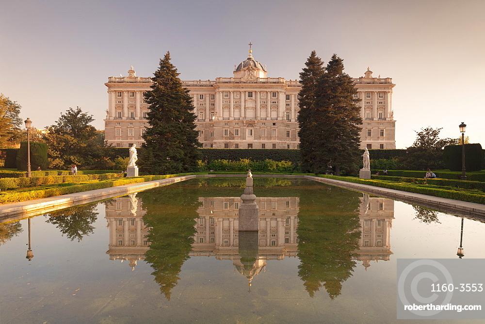 Royal Palace ( Palacio Real), view from Sabatini Gardens (Jardines de Sabatini), Madrid, Spain, Europe