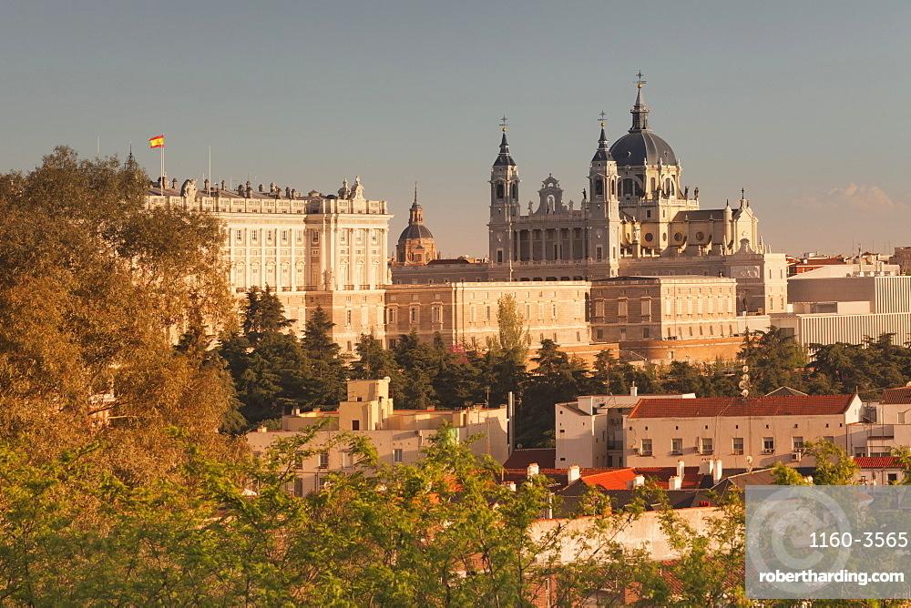 Royal Palace (Palacio Real) and Almudena Cathetral (Santa Maria la Real de La Almudena) at sunset, Madrid, Spain, Europe