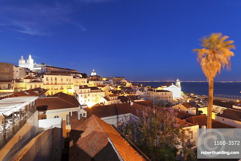 Santa Luzia viewpoint, Sao Vicente de Fora monastery, National Pantheon, Alfama district, Lisbon, Portugal, Europe