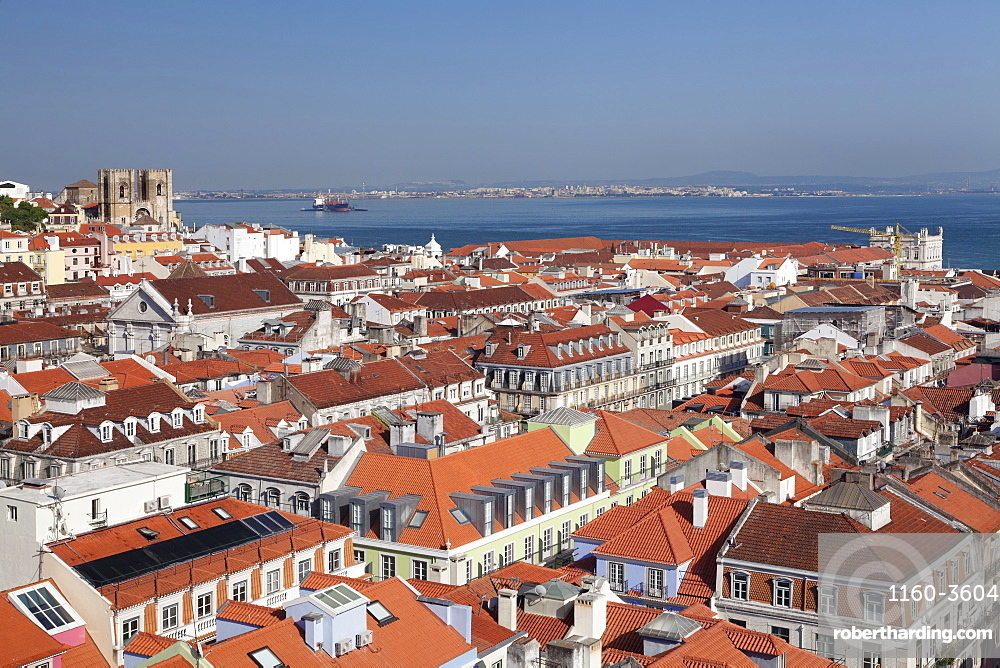 View over the old town to Se Cathedral and Tejo River, Lisbon, Portugal, Europe