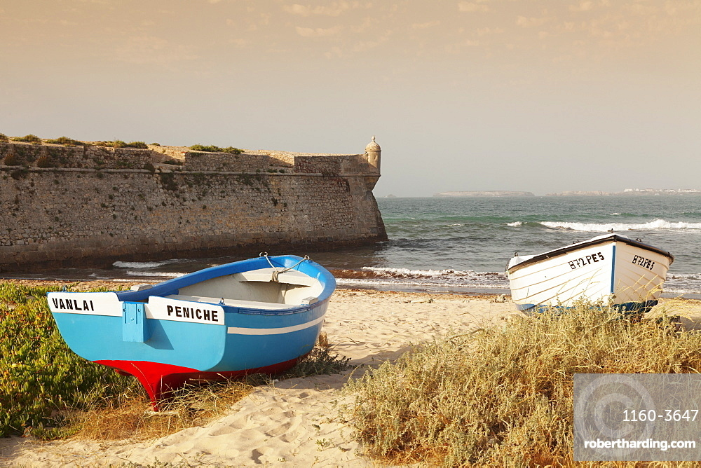 Fishing boats at sunset, Peniche, Atlantic Ocean, Leiria, Portugal, Europe