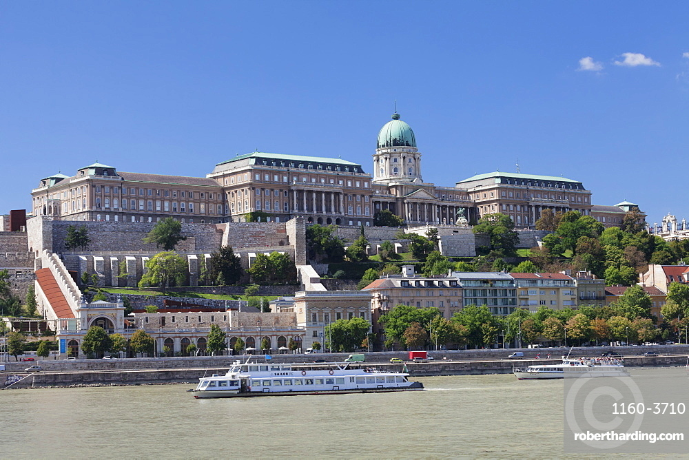 View over Danube River to the Royal Palace, Buda Castle, Budapest, Hungary