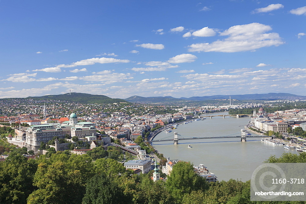 View from Gellert Hill to Buda Castle, Danube River and Parliament, Budapest, Hungary, Europe