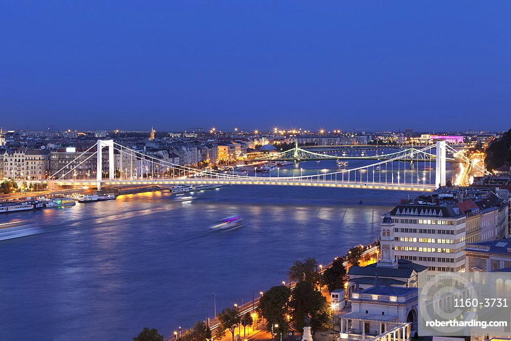 View over Danube River to Elisabeth Bridge and Liberty Bridge, Budapest, Hungary, Europe