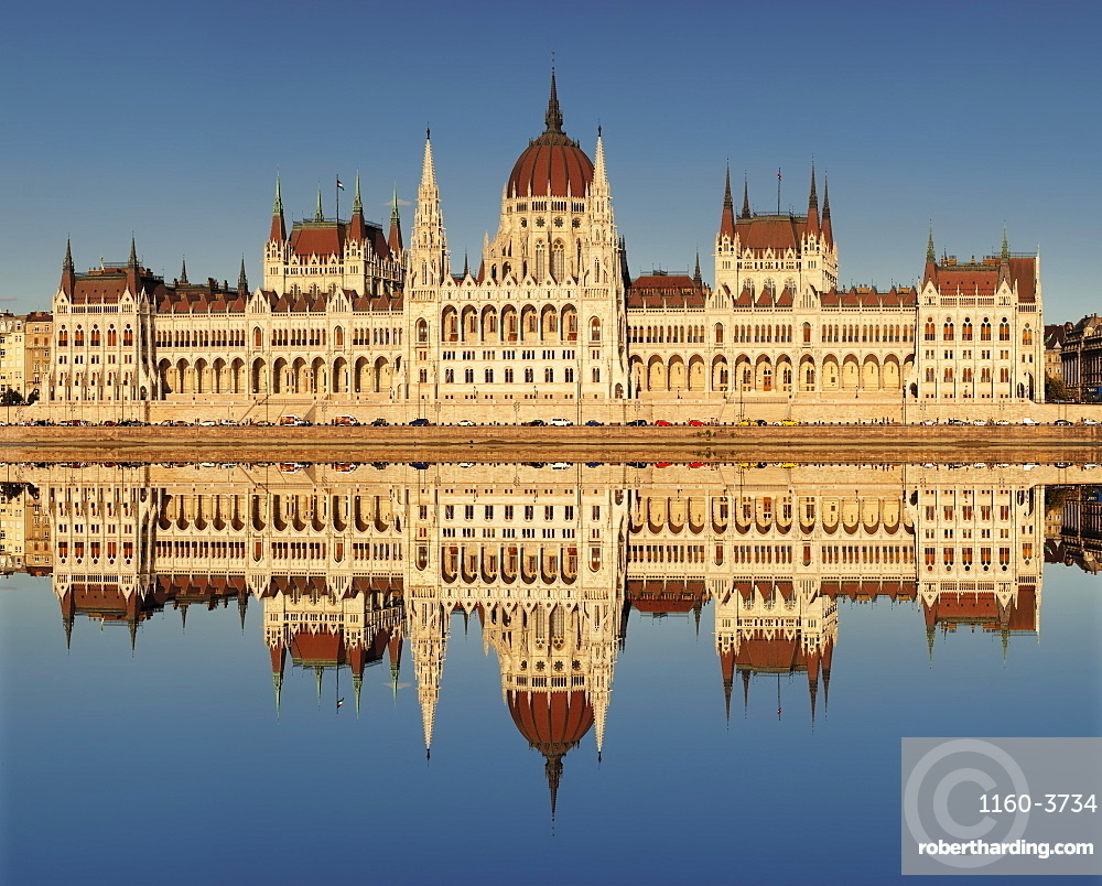Parliament Building at sunset, Danube River, Budapest, Hungary