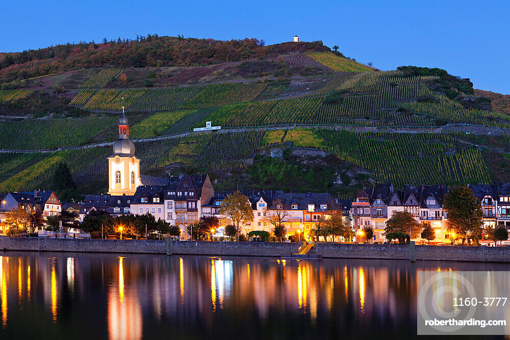 View over Moselle River to Zell, Collis Turm Tower, Rhineland-Palatinate, Germany, Europe