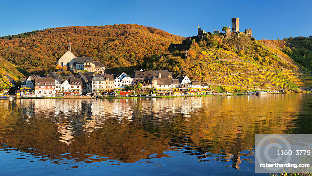 Town of Beilstein with Metternich Castle Ruins on Moselle River, Rhineland-Palatinate, Germany, Europe