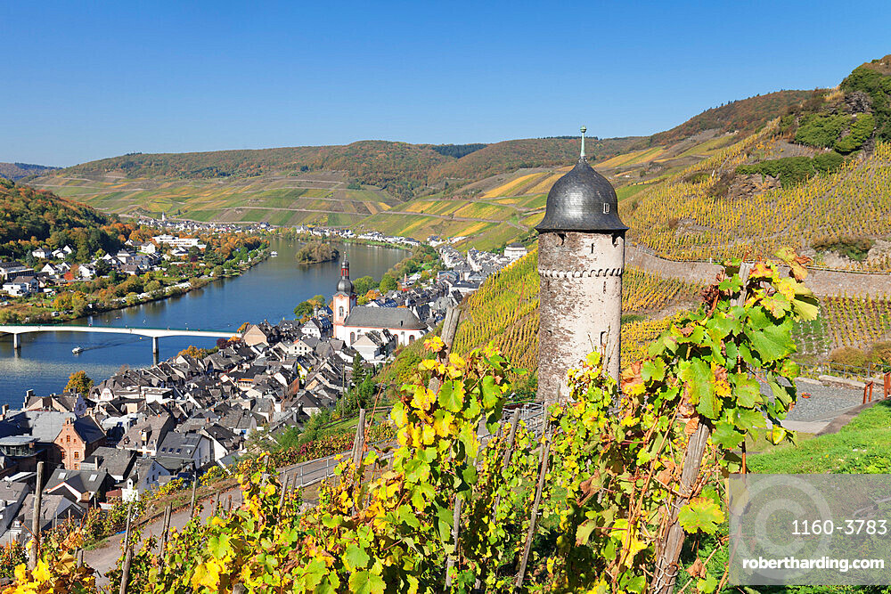 View from Runder Turm Tower to the town of Zell on Moselle River, Rhineland-Palatinate, Germany, Europe