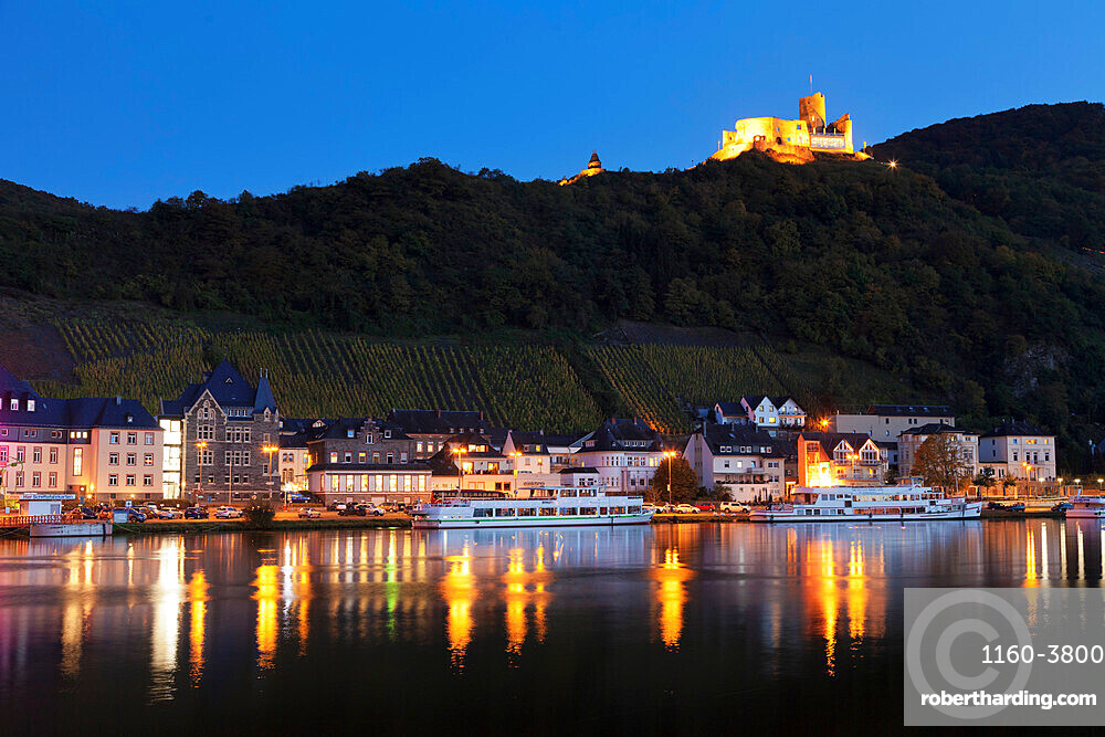 View over Moselle River to Bernkastel-Kues, Ruins of Landshut Castle,Rhineland-Palatinate, Germany