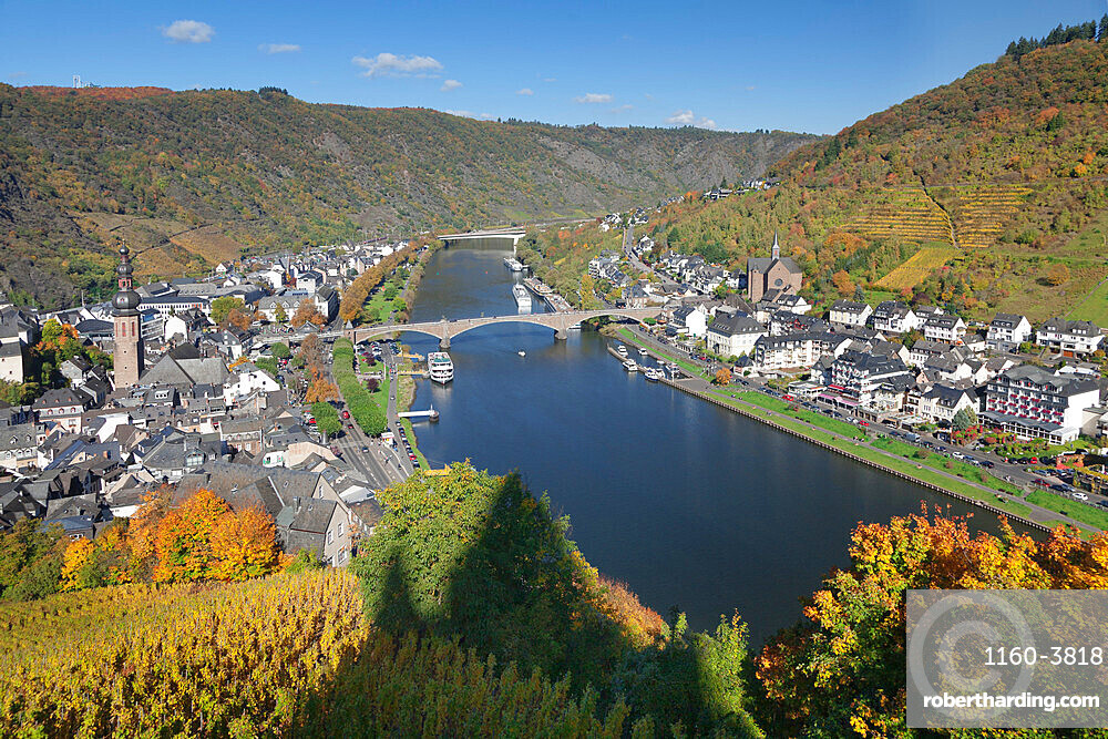 View from Reichsburg Castle to Cochem, Moselle Valley, Rhineland-Palatinate, Germany